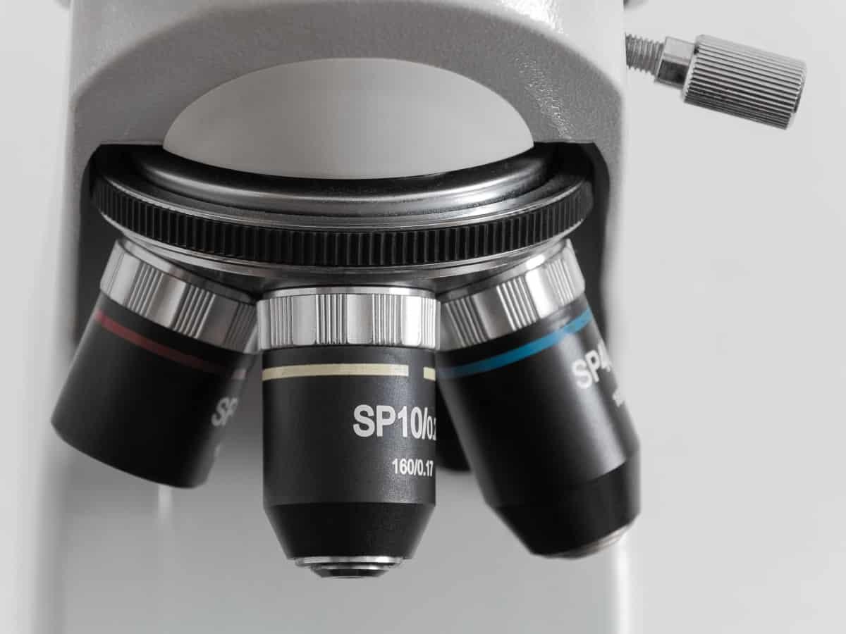 Forscher am Mikroskop von Amgen
