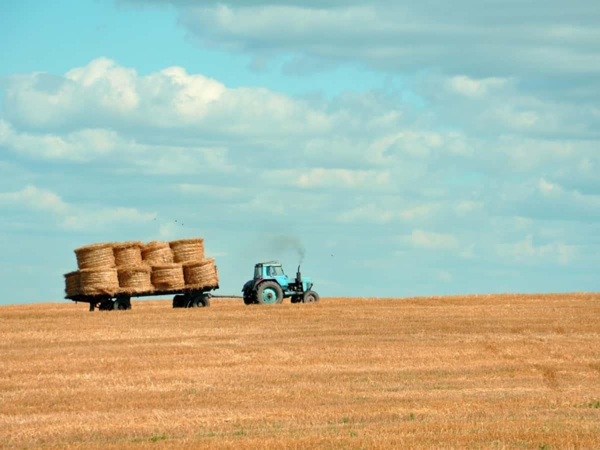 Ein Tractor auf einer großen Farm