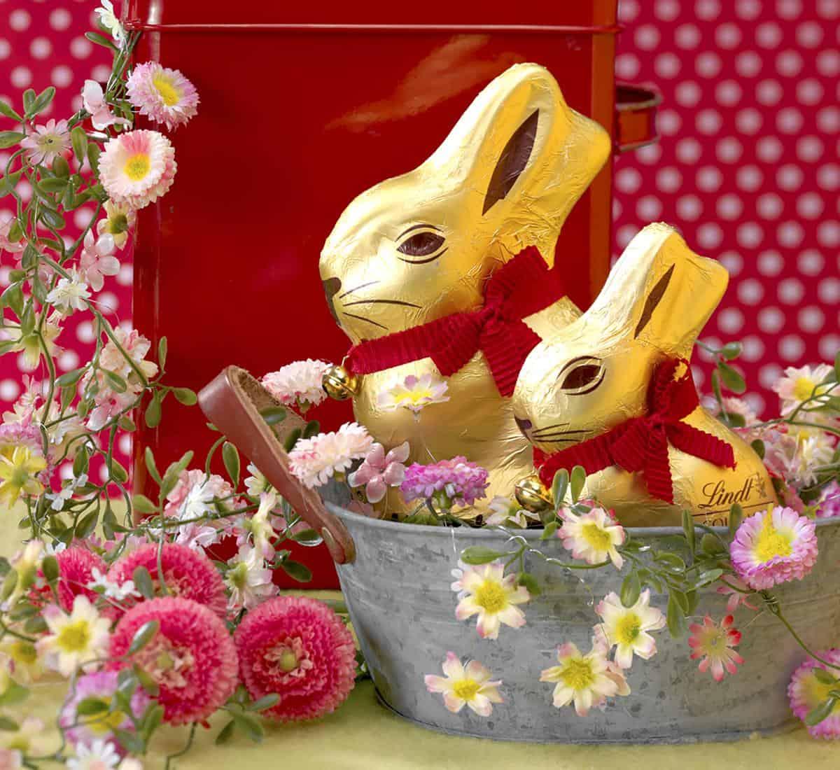 Der Goldhase aus dem Hause Lindt und Sprüngli wünscht frohe Ostern