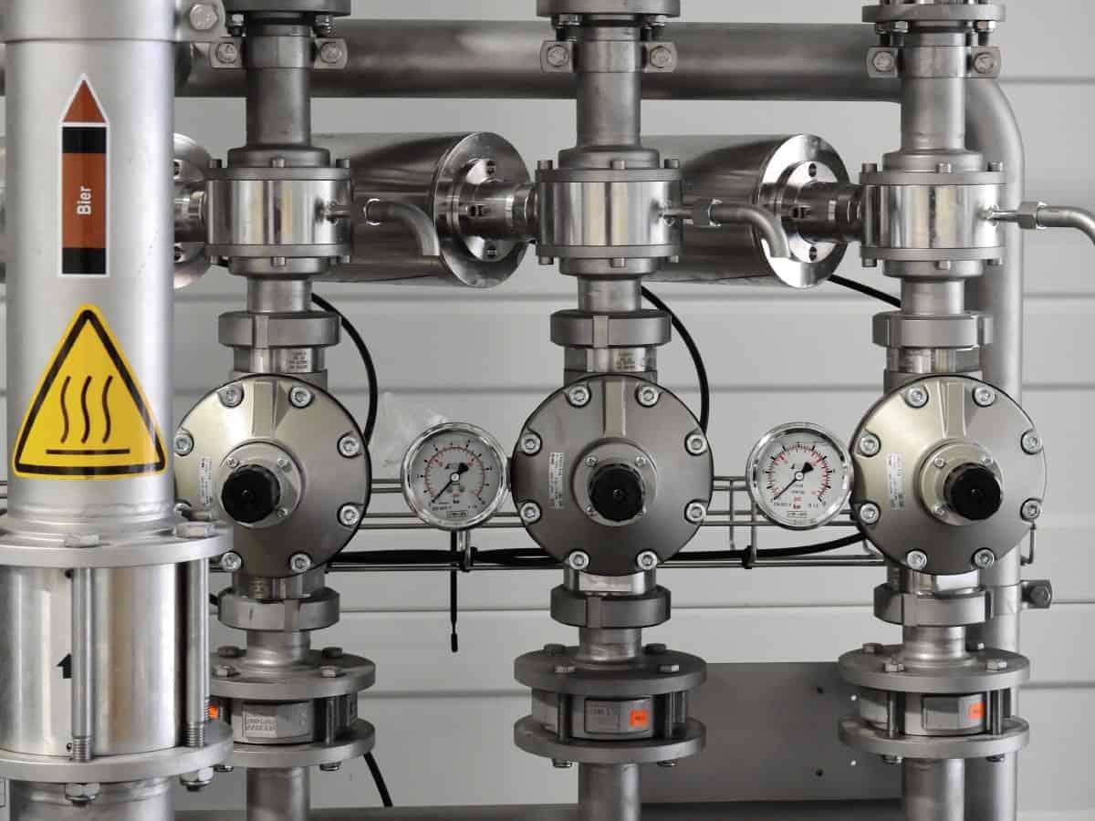 Wassermessgeräte in einer Bierbrauerei